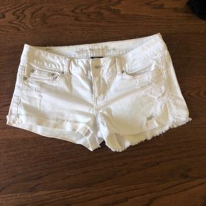 American Eagle white ribbed jean shorts